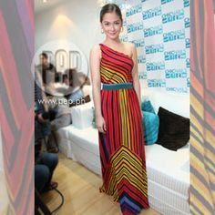 Maja Salvador: One-shoulder multi-colored maxi dress from Warehouse, YSL shoes, accessories from Topshop Maja Salvador, Chic Nails, Fashion And Beauty Tips, Celebrity Houses, Hollywood Actor, Celebs, Celebrities, The Chic, Ysl