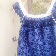 Super cute batik dress for girls. Hand printed and crocheted.