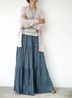 NO.5 Bluish Gray Cotton Gauze Hippie Gypsy Boho Tiered Long