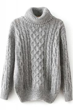 Sweater Love! Cozy Silver Grey Cable Knit Turtle Neck Long Sleeve Pullover Sweater
