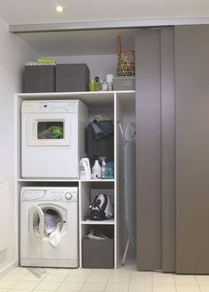 Install Waschmaschine im Bad, Wäsche - Salle de bain - Mobel Laundry Cupboard, Laundry Room Cabinets, Basement Laundry, Laundry Closet, Small Laundry Rooms, Laundry Room Organization, Laundry Room Design, Laundry In Bathroom, Storage Cabinets