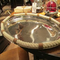 Anchor Tray - steel tray with brass handles and rope accent | perfect for serving and entertaining | Clayton Gray Home