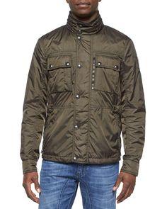 N39JH Belstaff Chepstow Nylon Button-Front Jacket, Green