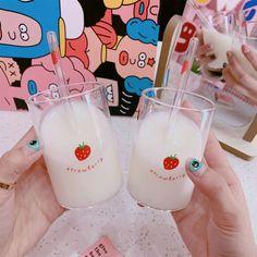 Kawaii Mini Strawberry Glass With Straw - Kuru Store Strawberry Milk, Baby Needs, Decorated Water Bottles, Cups, Iphone Cases, Kawaii, Drink, Mirror, Store