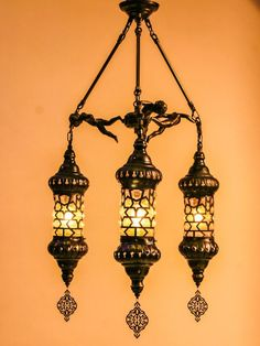 #OTTOMAN LANTERN CHANDELIER, 3 LAMPS l'éclairage est  #East lighting #Восточная люстра