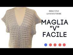 """TUTORIAL: Maglia""""V"""" facile/ maglia poncho***lafatatuttofare*** - YouTube"""