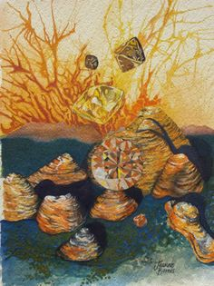 Kimberley champagne'  Diamonds and the Bungle Bungles, gouache on paper https://www.facebook.com/Jeanne.Barnes.Artist.Kununurra. sold