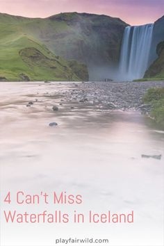 Iceland- the magical fairytale land of volcanoes, geothermal pools, and of course, waterfalls! If you've been dreaming of going to this utopia, here are 4 waterfalls that you absolutely cannot miss! Save this pin to your Iceland travel board! #iceland #icelanditinerary #waterfallsiniceland #beautifulwaterfalls #traveldestinations #europetravel #thingstodoiniceland #exploreiceland