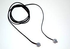 Black leather choker shambala pearls suede necklace double wrap chocker leather jewelry leather choker silver shambala by BusrHeartsScarves on Etsy