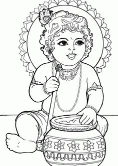 Baby Krishna Coloring Book To Print - Coloring Ideas Krishna Drawing, Krishna Painting, Krishna Art, Lord Krishna, Art Drawings For Kids, Outline Drawings, Art Drawings Sketches, Pencil Drawings, Outline Images