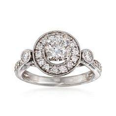 C. 2000 Vintage 1.15 ct. t.w. Diamond Halo Ring in 14kt White Gold. Size 4.5