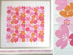 1960s vintage Swedish tablecloth designed by Christina Ringsberg for Gamlestadens