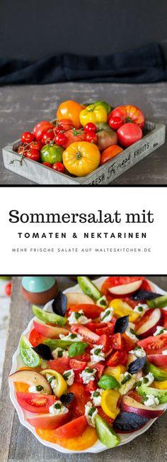 Sommersalat mit bunten Tomaten, Nektarinen, Mozzarella & Basilikumöl   salad with tomato, peaches, mozzarella and basil oil   malteskitchen.de