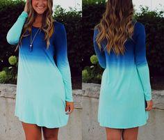Blue Color Block Ombre Color Print Long Sleeve Scoop Collar Casual Fashion Mini Dress - Dresses