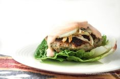 Asian Turkey Burgers with Sriracha Lime Yogurt Sauce - Slender Kitchen. Works for Clean Eating, Gluten Free, Low Carb, Paleo and Weight Watchers® diets. 238 Calories.