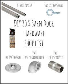 Cheap DIY Barn Door Hardware Shopping list, Plumbing Hardware