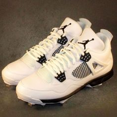 d5047a4352e Nike Air Jordan Retro IV Baseball Cleats - White / Black - Size Brand new,  never worn, and no flaws.