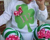 Baby Girl St. Patrick's Day Onesie -- Irish Sweetie -- Shamrock personalized onesie in pink and green