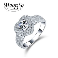 Moonso 925 real Silver Heart Shaped CZ Engagement Rings for Women bague bijoux Promise Rings Gift Jewelry LR1505