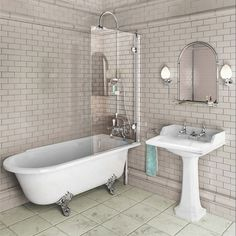 Stunning traditional bath/shower with matching basin bring a minimalist air that evokes purity and delicacy to any classically styled bathroom.http://www.victorianplumbing.co.uk/Burlington-Hampton-Bath-Shower-and-Basin-Suite-Right-Sided-BUR-HAM-SUI-R.aspx  I like parts of this for Guest bathroom.  TILE