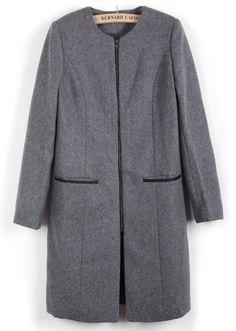 Abrigo de lana cremallera bolsillos manga larga-Gris EUR€37.16