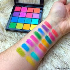 THOSE COLORS  @beautybykerilyne swatched our NEW Brights Ultimate Shadow Palette. Visit her page to see two other palettes from the collection that she picked up!!!  || #nyxcosmetics Nyx Brights Palette, Bright Color Eyeshadow Palette, Nyx Palette, New Eyeshadow Palettes 2017, Drugstore Eyeshadow Palette, Rainbow Palette, Bright Makeup, Colorful Eye Makeup, Makeup Swatches