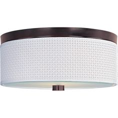 Illuminate your contemporary living space with this Elements collection flush-mount light. This circular light comes with an elegant bronze-finish mount fixture and requires three 13-watt light bulbs.