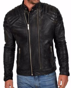 New Stylish Black Men's Genuine Lambskin Leather Jacket Slim Fit Biker Coat -104   Clothing, Shoes & Accessories, Men's Clothing, Coats & Jackets   eBay!
