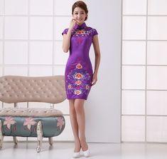 Purple Silk Floral Embroidery Mini Cheongsam Qipao Dress - iDreamMart.com