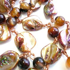 Pearl Necklace Mother of Pearl Nugget Beads dyed by SurfSeaGlass, $45.00