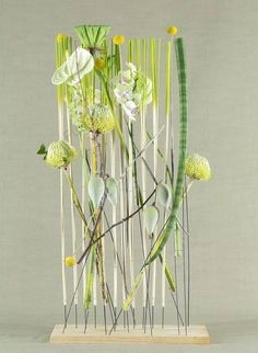 'Clean and Green' design, by Mark Pampling, featured in Fusion Flowers Magazine… Art Floral, Floral Artwork, Deco Floral, Floral Design, Contemporary Flower Arrangements, Unique Flower Arrangements, Ikebana Flower Arrangement, Vertical Garden Plants, Transparent Flowers
