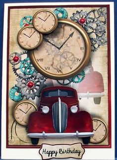 Car O Clock male card on Craftsuprint designed by Sallyanne O'Connell - made by Cheryl French - Printed onto glossy photo paper. Attached base image to card stock using ds tape. Built up image with 1mm foam pads. Another in a lovely collection of male cards. - Now available for download!