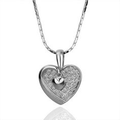 White Gold Plated Swarovski Elements Heart Necklace