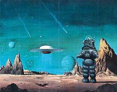 """Classic Sci-Fi film poster art for """"The Forbidden Planet"""". Arte Sci Fi, Sci Fi Art, Ufo, Classic Sci Fi Movies, Robby The Robot, Sci Fi Kunst, Science Fiction Kunst, Sci Fi Wallpaper, Arte Tribal"""