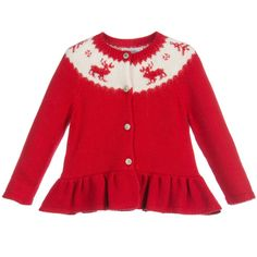 Ralph Lauren Baby Girls Red Knitted Reindeer Cardigan at Childrensalon.com