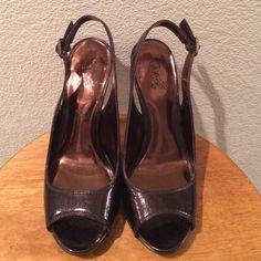 "Carols Santana Open Toe Shoe Carlos Santana Sexy Open Toe Shoe With Adjustable Slingback. Size 7.5, Approx. 4.5 "" Heel. The color is more like copper than brown. Carlos Santana Shoes Heels"