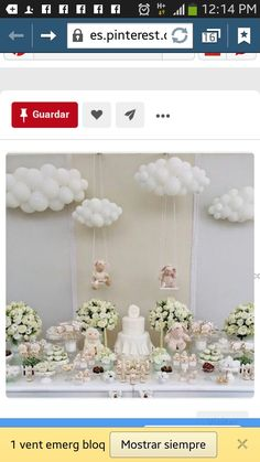 baby shower ideas for girls and boys. Baby shower decorations and baby shower decor Cloud Baby Shower Theme, Décoration Baby Shower, Angel Baby Shower, Unique Baby Shower Themes, Elegant Baby Shower, Girl Baby Shower Decorations, Beautiful Baby Shower, Baby Shower Winter, Baby Shower Balloons