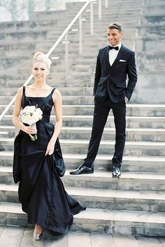 beautiful black wedding gowns