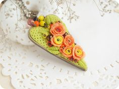Spring heart necklace, orange rose floral pendant, polymer clay flower necklace, sunny jewelry, Mothers Day gift