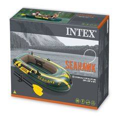 Intex Seahawk 2, 2-Person Inflatable Boat Set with French Oars and High Output Air Pump (68347)