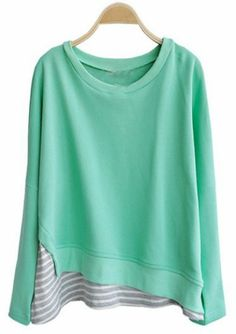 Green Round Neck Long Sleeve Striped Loose Sweatshirt - Sheinside.com