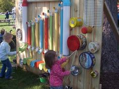 This is a great learning structure for children to experience outdoor music and sound. The set up of the objects are level with the children. http://childsplaymusic.com.au/