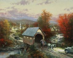 Country Memories painting by artist Thomas Kinkade can be purchased in art print or canvas form at special sale prices at Christ-Centered Art. Thomas Kinkade Art, Kinkade Paintings, Oil Paintings, Painting Art, Landscape Paintings, Thomas Kincaid, Window Candles, Art Thomas, Norman Rockwell