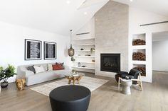 #fireplace #stonefireplace #cosylounge #livingroom #comfort #pendantlight #whitebuiltinshelving
