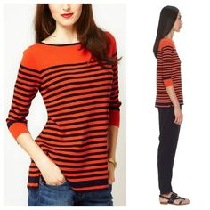 Orange Whistles Sylvie Stripe Jumper In perfect condition. Jumper is crafted from pure cotton. The details include: a fine gauge knit, a boat neckline with a contrast trim, 3/4 length sleeves, a contrast striped design through the body and notch detailing to the hem. The jumper has a regular fit, XS-S. Whistles Tops