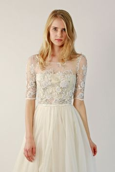 Removable top with beaded lace: http://www.stylemepretty.com/lookbook/designer/leannemarshall/ #SMPLookBook