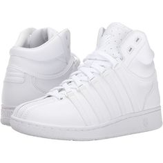 K-Swiss Classic VN Mid (White/White) Women's Tennis Shoes ($80) ❤ liked on Polyvore featuring shoes, athletic shoes, traction shoes, striped shoes, white athletic shoes, lace up tennis shoes and laced shoes