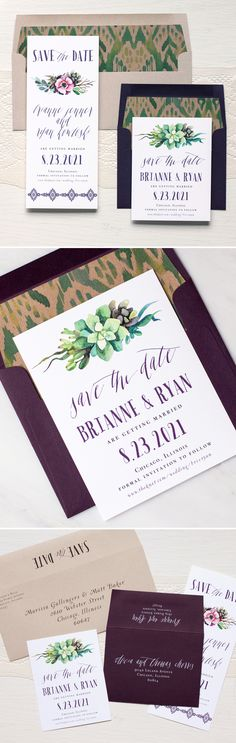 Go Boho! Unique save the dates with calligraphy inspired fonts, kraft paper ikat envelope liners, dark plum, taupe and white.