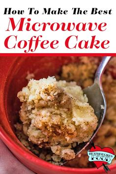 This mug coffee cake is made in the microwave in about 2 minutes. It's the perfect serving for 1 when you need something to satisfy your sweet tooth. Just stir, top with streusel and microwave for 1 minute. If you've tried other mug cakes before and didn' Coffe Mug Cake, Mug Cake Microwave, Microwave Desserts, Bowl Cake, Pear Recipes, Salty Cake, Sugar Cravings, Savoury Cake, Original Recipe