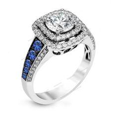 Beautiful White GP 5MM Round D/VVS1 Diamond & Sapphire Double Frame Halo…